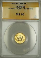 2000 Canada $5 Dollar Gold Coin Fireworks w/privy mark ANACS MS-65