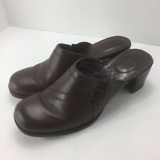 Clarks Womens Shoes Dark Brown Leather Mules Slides Chunky Heel 8 M 71024
