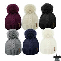 WOMENS LADIES WINTER KNITTED BEANIE SKI HAT THERMAL BOBBLE POM POM