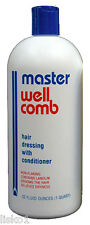 Master Well Comb MENS HAIR DRESSING GROOMING CREAM W/CONDITIONER 32 oz.