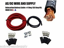 # 4 GAUGE RELOCATION HD Battery TOP POST Terminal Cable Kit 12'R/3'B 4AWG  U.S.A