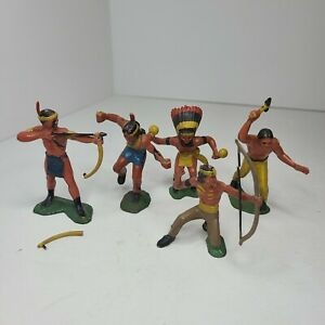 5 Vintage Native American Indian Toy Figures Germany Hand Painted