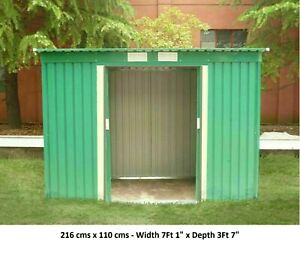 new Metal Green Garden Shed 8 X4 Ft Storage WITH FREE BASE 120*240cm