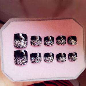 24 x New 3D silver  Shimmer  Diamond Black Short Fake False Toe Nails Glue