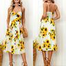 Women's Floral Print Sleeveless Party Midi Dress Summer Beach Holiday Sundress