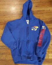 Yth 14/16 Kansas University jayhawk logo Majestic hoody sweatshirt blue zip-up