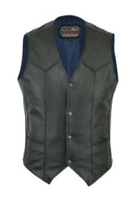 New Motorcycle Motorbike Leather Cowhide Waistcoat Vest Rider Wear M201A