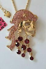 Betsey Johnson Crystal Rhinestone Pirate Skull Necklace Pendant Brooch Pin