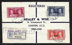 L9208 NEW ZEALAND UK GB 1937 CORONATION REGISTERED FIRST DAY COVER OVPT NIUE