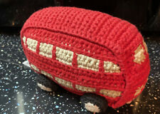 Best Years Knitted Red Bus Rattle Toy Comforter Hug Toy VGC