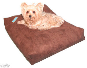 "Shredded Memory Foam Orthopedic Dog Bed for Small Dogs,25""x20"", Brown Microfiber"
