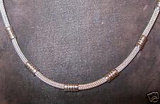 Edle massive Silber Kette 925er Strickkette mit Elementen 42 cm, 25 gr.