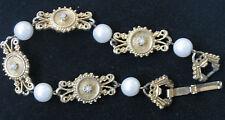 """Vintage Florenza Bracelet Faux Pearls & Gold Tone Links 7"""" L X 1/2"""" W"""