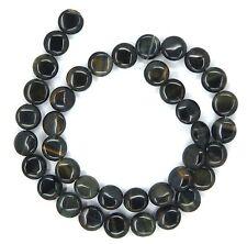 "15.5"" Natural Blue Tiger Eye Coin ~40 Beads 10mm K4602"