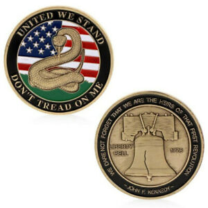 United We Stand Don't Tread on Me 1776 Challenge Coins Collectibles Souve^lk