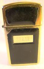 Very Nice Zippo Slim Gold Tone Egraved SHANE Lighter Sparking Well