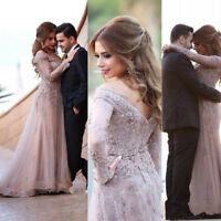 Long Sleeve Lace Beaded Arabic Evening Dress Party Prom Ball Gown Formal Custom