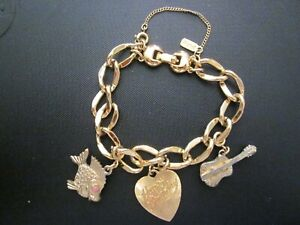 "Vintage 7"" Monet Charm Bracelet w/3 Removable Charms & Safety Chain"