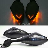 Motorcycle Intergrated LED Turn Signal Rearview Mirrors for Honda Yamaha Carbon