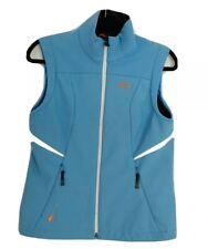 KJUS Systems Switzerland Womens Light Blue White Trim Full Zip Vest Size Medium