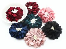 5pcs Gorgeous Burned Eage Satin Fabric Flower with Stamen 50mm supplies Hair Acc