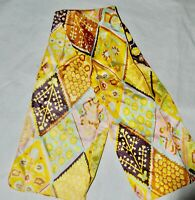 Vintage Rectangle Scarf Yellow Brown Pink 42 x 8.5 Wrap