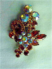 Gorgeous Vintage Juliana Brown, Amber & AB Rhinestone Pin Brooch - Layers 3-D
