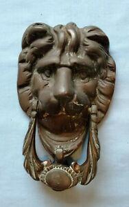 Vintage Antique bronze LION head DOOR KNOCKER