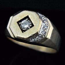 Men's Diamond 14k Yellow Gold Ring Vintage Estate Jewelry Gift
