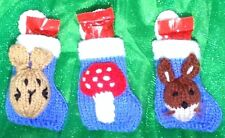 KNITTING PATTERN - Woodland Animal Friends 8cms Christmas stocking decoration