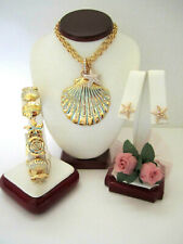"Brighton ""AQUA SHORES"" Shell Necklace-Earring-Bracelet Set (MSR$178) New/Pouch"