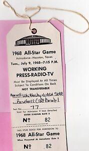 1968 All-Star Pass Ticket  Willie Mays MVP/Drysdale W/ Mantle Last K/Seaver 5 K