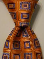 NORDSTROM Men's 100% Silk Necktie USA Designer Geometric Orange/Blue/Yellow NWT