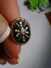 Antique VICTORIAN 14K Gold JET BLACK Fleur Gold Diamond RING Sz 9