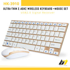 NEW 2.4GHZ USB WIRELESS GAMING KEYBOARD MOUSE SET GOLD HK-3910 FOR PC LAPTOP UK