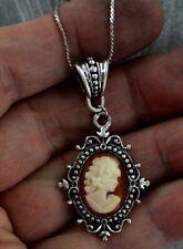 VINTAGE ANTIQUE CAMEO PENDANT, NECKLACE SHELL CARVED IN ITALY with CHAIN