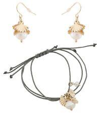 Zest Beads & Shells Bracelet & Earrings Set Grey & Gold