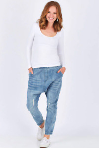"""EB&IVE """"Sable"""" Slouch Denim Elasticised Wast Jogger Jeans Size M - NWT!"""