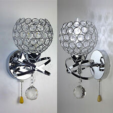A pair Modern Chrome Silver Crystal LED Wall Light bed Sconce  With rope Switch