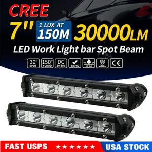 2PCS 7inch 72W Led Light Bar Off Road Fog Spot Combo Work UTE Truck SUV ATV 7''