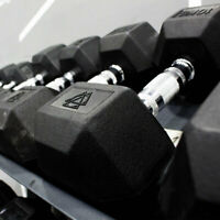 Hex Dumbbells 10kg Pair Cast Iron Rubber Encased Fixed Weights Home Gym