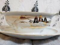 Hayasi Kutani China Porcelain Gold Fuji Gravy Boat Dish W/ Attached Plate Japan
