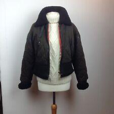 Vintage Kenzo Aviateur Bomber Veste Femme Shearling Peau de Mouton Cuir Taille L