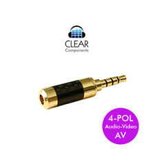 MINI - KLINKENSTECKER 3,5mm AV 4-POL VERGOLDET - CARBON - GERADE - PLUG HIGHEND