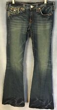 True Religion Womens Joey Flap Pockets Twisted Flare Leg Blue Jeans~Size 30 x 33