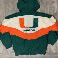 RARE Vintage Miami Hurricanes NCAA Green Apex Jacket w/ Hood Mens Medium CANES