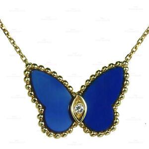 VAN CLEEF & ARPELS Butterfly Diamond Lapis Lazuli Yellow Gold Pendant Necklace