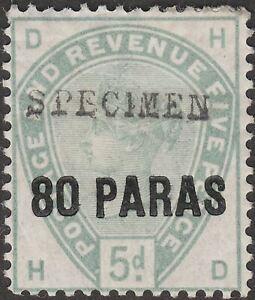British Levant 1885 QV SPECIMEN Overprint 80pa on 5d Surcharge Mint SG2s w thin