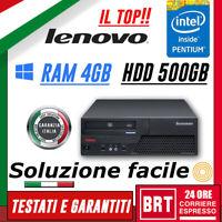 PC COMPUTER FISSO LENOVO THINKCENTRE M58 SFF CPU PENTIUM RAM 4GB 500GB +WIN10!!!