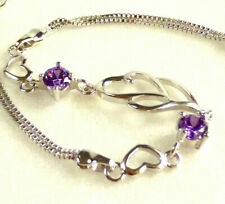 Womens 925 Solid Silver Heart Charm Bracelet Purple Simulated Diamond 19cm UK